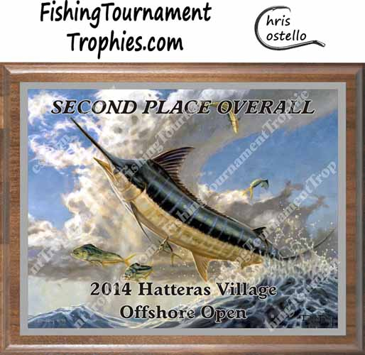 Blue Marlin Tournament Trophy Plaque, Flying Fish