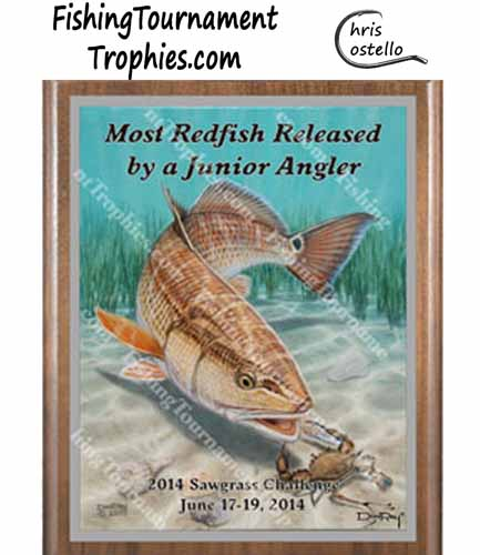 Redfish Tournament Plaque, Redfish & Blue Crab