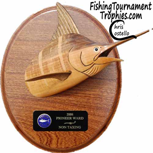 Striped Marlin Head Mount Trophy on Oval Plaque
