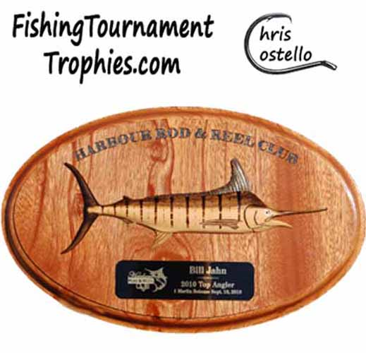 Striped Marlin on Oval Plaque, 12 Inch, natural finish