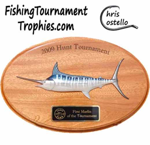 Striped Marlin on Oval Plaque, 12 Inch, Color