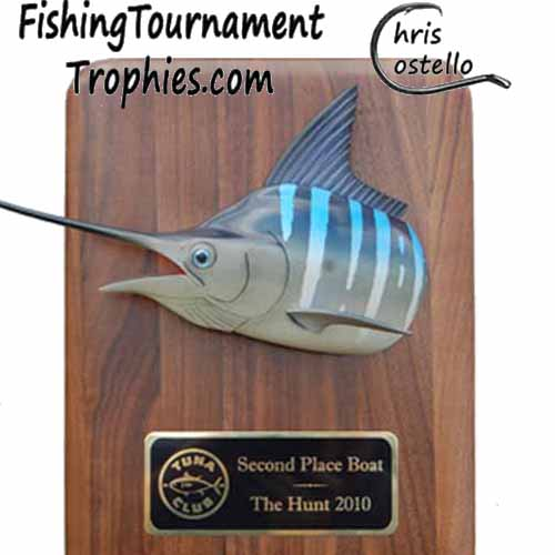 Striped Marlin Trophy, Head Mount on Walnut Plaque