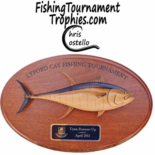 yellowfin tuna award, natural finish oval