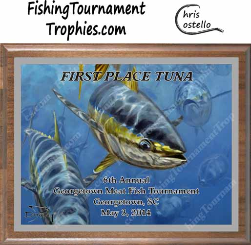 Yellowfin Tuna Tournament Plaques, Approaching Front 1